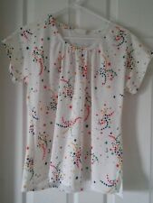 Vintage White with Primary Color Stars and Crescent Moon Blouse Size M