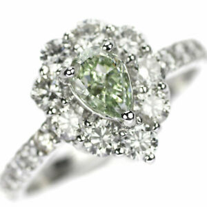 Brand New Pt900 Green Diamond Ring 0.51ct FYG SI1 D1.13ct SELBY_JAPAN