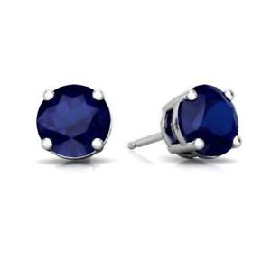 2 Ct Blue Sapphire Round Stud Earrings 14Kt White Gold