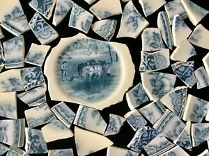 Broken China Mosaic Tiles COLONIAL BLUE MEAKIN England  80+ Pcs & Focal HORSES