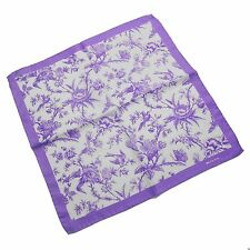 Kiton Silk Pocket Square in Amethyst and White with Floral Design