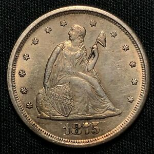 1875-S Silver Twenty Cent Piece San Francisco Mint Almost Uncirculated Condition