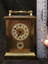 Brass French Carriage Clock- Unique Handle, Porcelain Face With Blue Hands