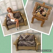 BARBIE,SILKSTONES,doll,FURNITURE,OOAK,DIORAMA,chair,COUCH,SOFA,CUSTOM