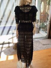 Lim's Vintage Victorian Style High Neck Intricate Maxi Dress One Size M, Black