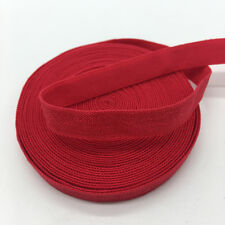 """5yds 3/8"""" Solid Fold Over Elastics Spandex Satin Band Lace Sewing Trim LightRed"""