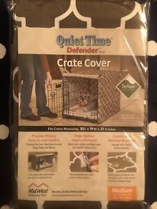 """Midwest Quiet Time Defender Series Geometric Brown Crate Cover for Dogs 30"""" Med"""