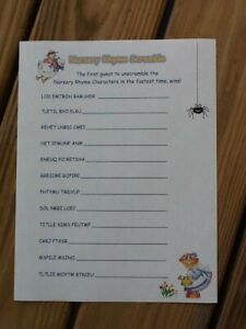 20 Sheets Nursery Rhyme Baby Shower Scramble Game + Answers Provided