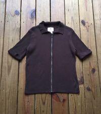 Quacker Factory women's L brown 1/4 sleeve rhinestone zipper sweater cardigan