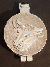 Vintage-Cast-Aluminum-Bul l-Cow-Cattle-Steer-Face-Ha mburger-Press-1973