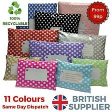 More details for polka dot mailing bags printed post poly plastic coloured strong seal all sizes