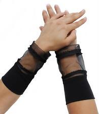 Stulpen Fingerlos Handschuhe schwarz Netz Tüll Ärmelverlängerung