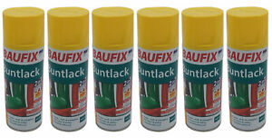 6x Baufix Alkydharz Lackspray gelb glänzend 400ml Bunt Farbspray Sprühdose