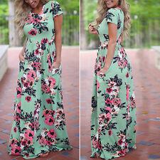 Womens Summer Short-Sleeve Boho Long Maxi Evening Party Beach Dress Sundress