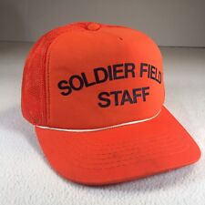 2343bb4c8b45f Soldier Field Staff Vintage Cap Trucker Hat Snapback Orange 70s 80s Mesh  Foam