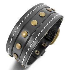 MENDINO Wide Men's Unisex Alloy Leather Bracelet Belt Bangle Buckle Adjustable