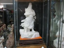 China White Jade handwork Three Kingdoms Period Dragon Guan Gong warrior Statue
