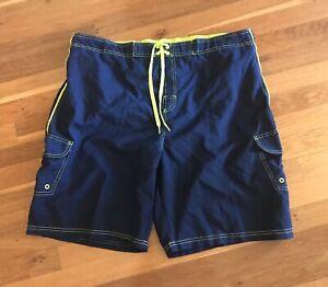 NEW Mens Sz XL Blue Swim Trunks Pool Beach Shorts