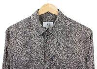 Armani Exchange Mens Long Sleeve Scaled Pattern Grey 100% Cotton Slim Shirt - M
