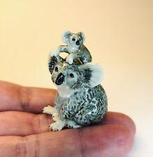 More details for tiny miniature grey australian koala bear & baby ceramic collectable ornament