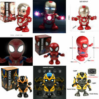 Dance Spiderman / Bumblebee / Iron Man Toy Figure Dancing Robot w/LED & Music