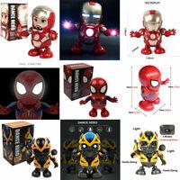 Dance Hero Spiderman / Bumblebee / Iron Man Toy Figure Dancing Robot w/LED Music