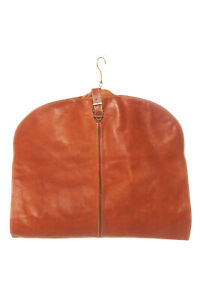 COLE HAAN Tan Leather Vintage Garment Travel Bag Gold Hanger Buckle Canvas Back