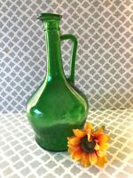 Vintage Emerald Green Glass Wine empty Jug with a Handle