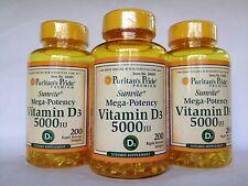 3 Bottles (600 Softgels) Puritan's Pride Sunvite Mega-Potency Vitamin D3 5000 IU