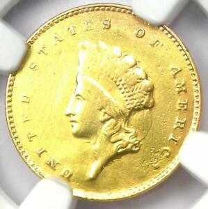 1855-C Indian Gold Dollar G$1 - Certified NGC AU Details - Rare Charlotte Coin!