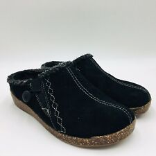 Earth Origins Johanna Black Suede Slip-On Clogs with Faux Fur Trim, Wide