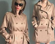 Beige Double-Breasted Military Style Hooded Belted Trench Coat M detachable hood