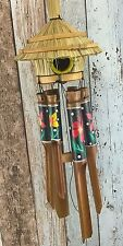HAND PAINTED BIRD HOUSE WIND CHIME - bamboo - Handmade & Ethically Sourced, 45cm