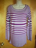 NWT NEW womens juniors size S M purple white BONGO l/s scoop neck tunic sweater