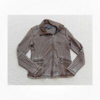 Bnci Blanc Noir Womens Jacket Soft Moto Style Assymetrical Zip Size Large L