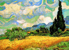 Vincent Van Gogh *FRAMED* CANVAS ART Wheat Field with Cypresses 20x16""