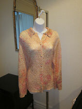 La Costa Spa Pastel Peach Print Dress Shirt / Size Large