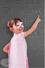 New Girl's Reversible Satin Light Pink White Super Hero Cape and Mask