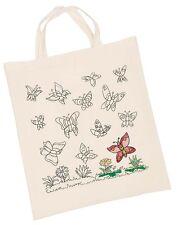 Tasche Tragetasche Baumwolle Schmetterlinge zum ausmalen NEU mit 8 Textilstifte
