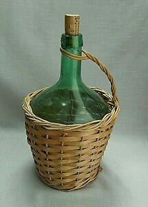 Vintage Green Glass Wine Bottle Wrapped in Wicker Handle 1 Gallon Viresa Empty
