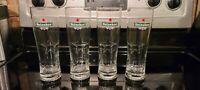 Set of 4 NEW Heineken 16 Oz. Pint Beer Glasses Embossed Star / Heineken Logo