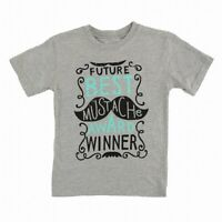 Wes and Willy Baby Boys T-Shirt Heather Gray Size 2T Future Mustache Award 841