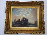 """ANTIQUE MASTERFUL AMERICAN LANDSCAPE PAINTING WITH ORNATE LARGE FRAME 14 BY 18"""""""