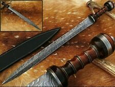 Custom Handmade Damascus Steel Viking Sword, Rose Wood Handle, Leather Sheath