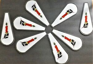 """8 I.E.M. Touch Light Lamp Glass Replacement Panels 10 1/2"""" Long Christmas 1993"""