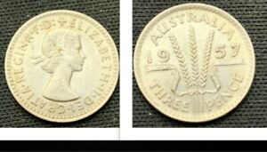 1957 Australia 3 Pence coin  50% Silver    ASW .0227 Tr Oz   #59