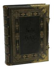 19TH Century LEATHER AND BRASS BOUND FAMILY BIBLE, 1800s