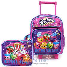 "Shopkins Small School Roller 12"" Trolley Backpack Lunch Bag 2pc Set Bag Besties"