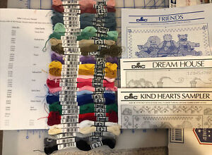 DMC Flower Thread Lot 37 Skeins Introductory Set & 3 Cross Stitch Graphs Charts