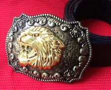 3D RAMPANT GOTHIC LION HEAD BIG CAT TIGER BUCKLE LEATHER BELT